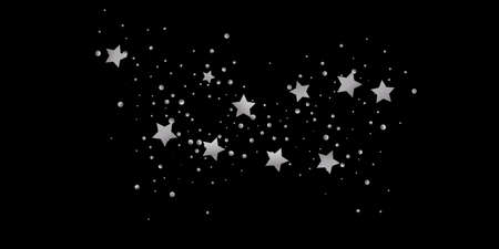 Silver star of confetti. Falling starry background. Random stars shine on a black background. The dark sky with shining stars. Flying confetti. Standard-Bild - 161764841