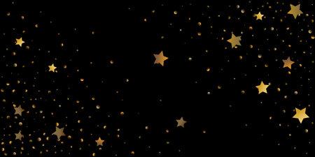 Abstract star of confetti. Falling starry background. Random stars shine on a black background. The dark sky with shining stars. Flying confetti. Standard-Bild - 161764920