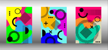 Memphis background set covers. Trendy abstract vector illustration. Colorful geometric background design. Creative vector banner illustration.