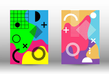 Modern memphis background set covers, great design for any purposes. Trendy abstract vector illustration. Abstract elegant background. Creative vector banner illustration.  イラスト・ベクター素材