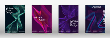 Minimum vector coverage. A set of modern abstract covers. Future futuristic template with abstract current forms for banner design, poster, booklet, report, journal. Vector illustration.