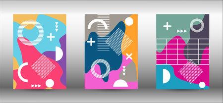 Memphis background set covers. Trendy abstract vector illustration. Minimal geometric shape. Creative vector banner illustration.  イラスト・ベクター素材