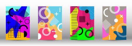 Modern memphis background set covers, great design for any purposes. Colorful trendy illustration. Minimal geometric shape. Creative vector banner illustration.