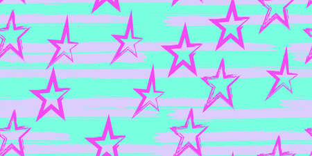 Colored stripes and stars. Simpless. Fashion watercolor striped design. Hand drawn lines in a watercolor style. Fabric, textile design, wrapper, cover. Illustration