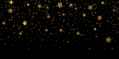 Star of confetti. Falling starry background. Random stars shine on a black background. The dark sky with shining stars. Flying confetti. Suitable for your design, cards, invitations, gifts.
