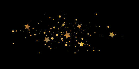 Abstract star of confetti. Falling starry background. Random stars shine on a black background. The dark sky with shining stars. Flying confetti.