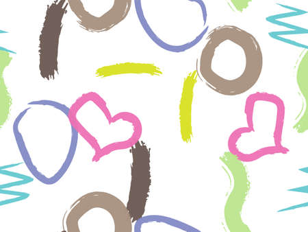 Cute seamless pattern with brush-drawn circles, hearts, strokes. Vector geometric textures with different simple shapes. Naive cute childish art background.