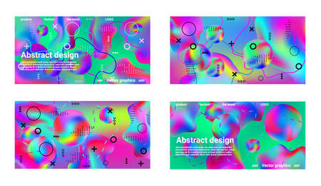 Minimum vector coverage. A set of modern abstract covers. A bright smooth grid is blurred by a futuristic pattern in pink, blue, green, yellow, purple.