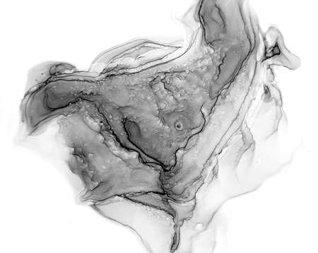 Grayscale Watercolor. Smoke Texture. Vintage illustration with grayscale watercolor for decoration design. Modern art. Silver smear surface. Abstract print. Фото со стока