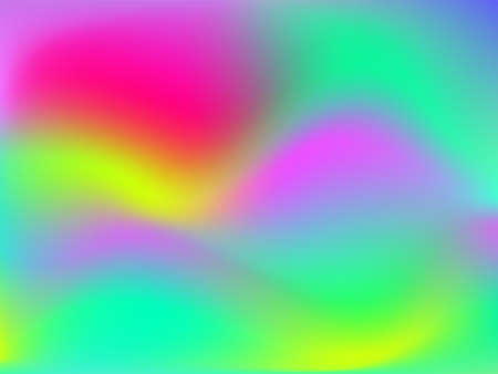 Holographic background. Bright smooth mesh blurred futuristic pattern in pink, blue, green colors. Fashionable ad vector. Intensive gradient of holographic spectrum for printed products, covers. Иллюстрация