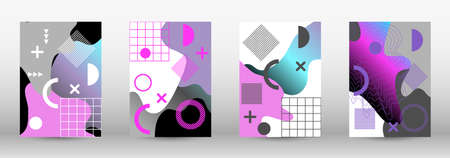 Modern memphis background set covers, great design for any purposes. Colorful trendy illustration. Colorful geometric background design. Creative vector banner illustration. Иллюстрация