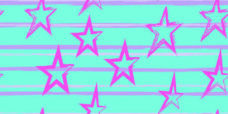 Colored stripes and stars. Simpless. Fashion watercolor striped design. Hand drawn lines in a watercolor style. Fabric, textile design, wrapper, cover. Иллюстрация