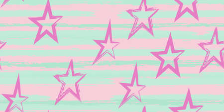 Grunge stripes with painted stars. Simpless. Fashion watercolor striped design. Hand drawn lines in a watercolor style. Fabric, textile design, wrapper, cover.