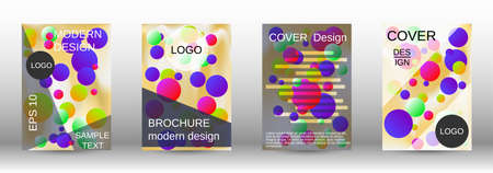 Gradient circles on a holographic background. A set of modern abstract covers. Future futuristic template with abstract balls for design of banner, poster, booklet, report, magazine.