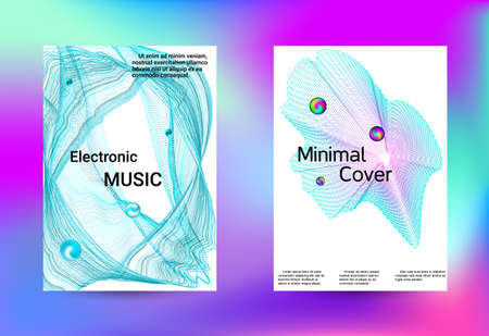 Minimum coverage of a vector. Cover design. Set of modern abstract musical backgrounds. Sound flyer for creating a fashionable cover, banner, poster, booklet.