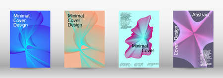 Minimum vector coverage. A set of modern abstract covers. Future futuristic template with abstract current forms for banner design, poster, booklet, report, journal.