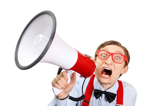 geek: Funny guy with bullhorn Stock Photo