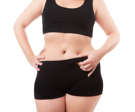 liposuction: Size 40-42 woman s body isolated over white background