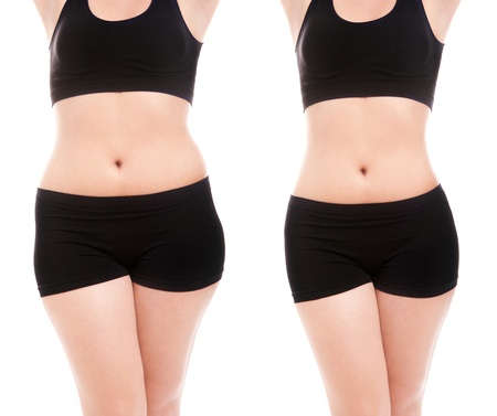 diet weight loss: Woman s body before and after a diet