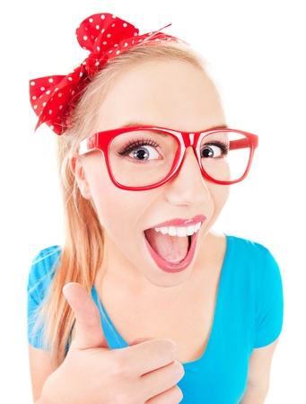 geek: Everything is ok - funny girl with thumb up  Stock Photo