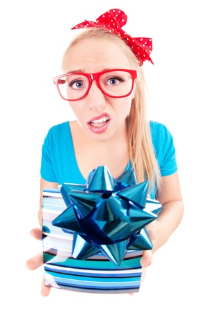 disappoint: Funny girl disappointed with a gift