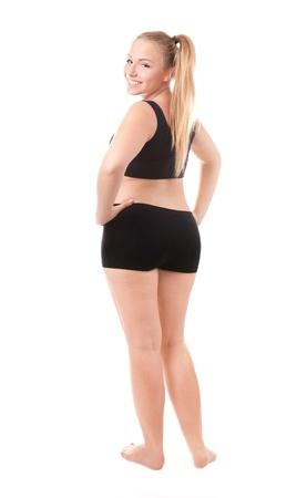 mujer gorda: Tamaño 40 la mujer aislada sobre fondo blanco