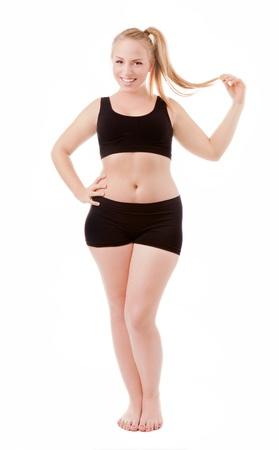 mujer gorda: Tama�o 40 la mujer aislada sobre fondo blanco