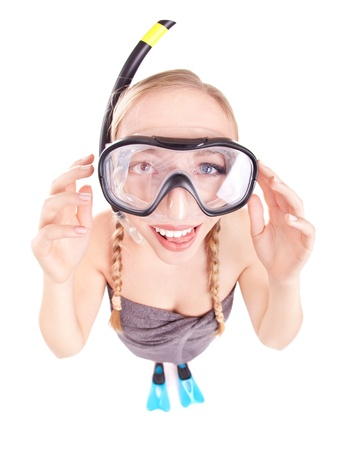 crazy girl: Funny woman in snorkeling gear, isolated studio shot