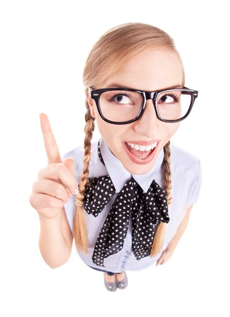 ragazza che indica: Scuola ragazza divertente rivolto verso l'alto, eye pesce ritratto