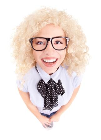 Funny businesswoman concept, fish eye lens portrait Stock Photo - 16336423