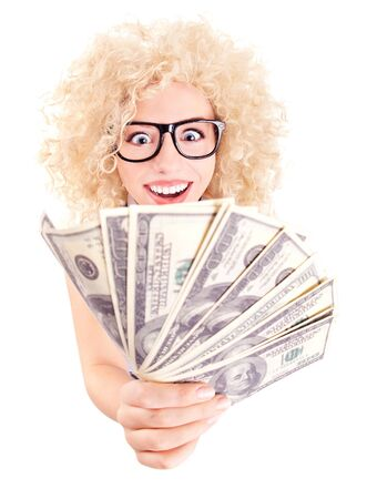 Young woman with dollars in her hands isolated on white  Stock Photo - 16336433