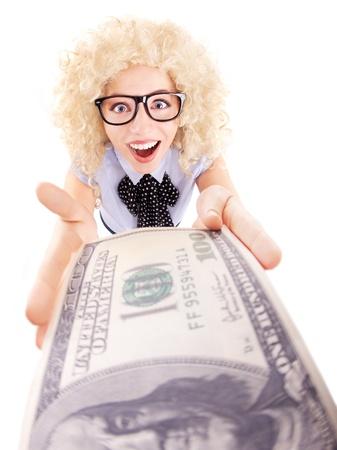 spending money: Spending money concept, happy woman holding hundred dollar bill
