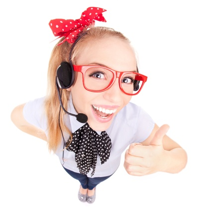 nerd girl: Funny call center concept - woman with headset