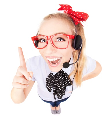 Funny call center concept - woman with headset Stock Photo - 16336413