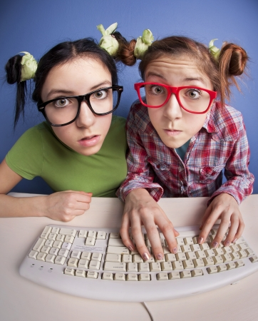 fascinating: Twin sisters at the computer