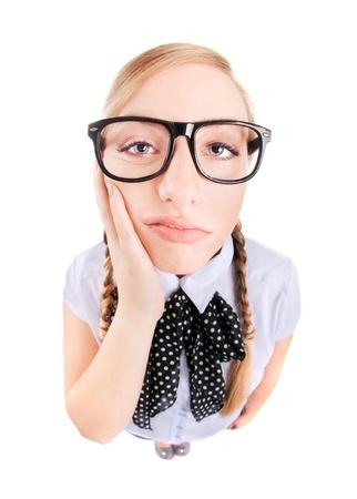 Bored nerdy meisje of kiespijn begrip Stockfoto