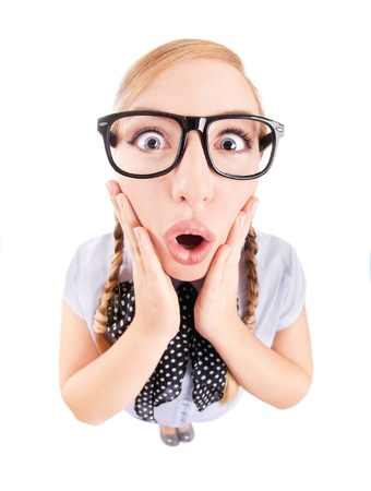nerd girl: Photo of a funny surprised girl