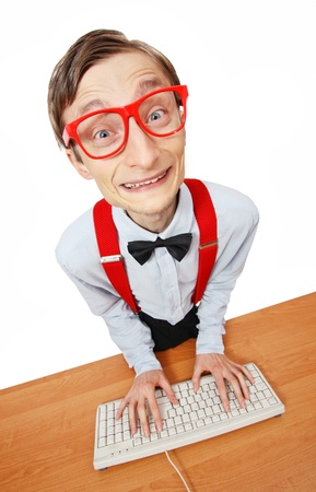 nerd: Funny guy at the computer, social media concept Stock Photo
