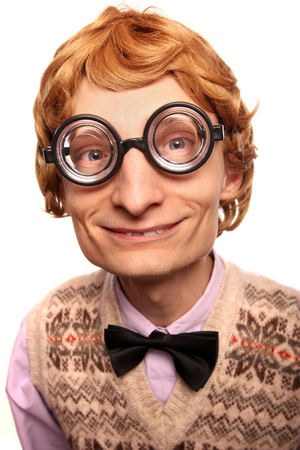 crooked: Funny nerdy guy wearing glasses