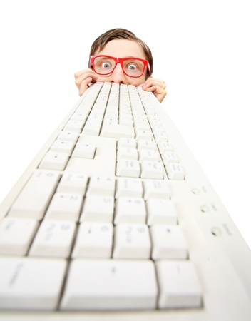 inquiring: Funny guy with computer keyboard  Stock Photo