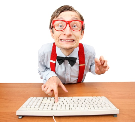 silly: Funny office worker  Stock Photo