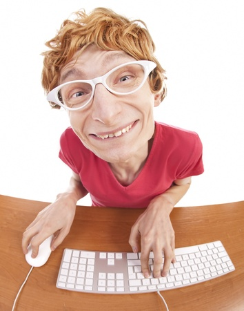 Funny guy at the computer Stock Photo - 16498930