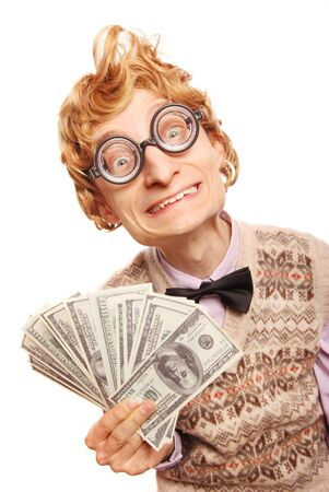 Lottery winner concept, funny nerd with dollar bils photo