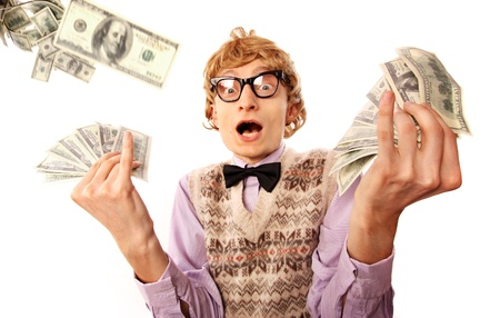 geek: Millionaire, lottery winner concept, funny surprised man with dollar bills Stock Photo