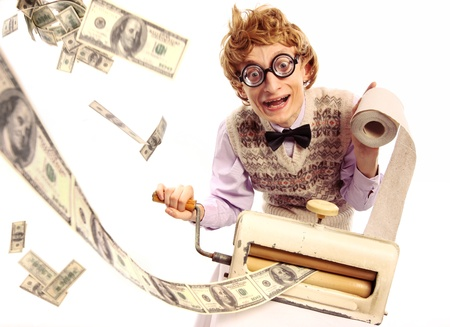 printing business: Money maker, printing from toilet paper Stock Photo