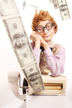 Money maker, printing from toilet paper Stock Photo - 16498796