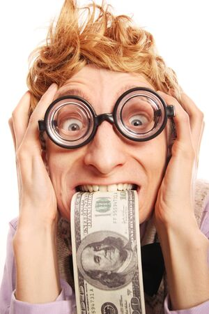 miserly: Funny guy with money Stock Photo
