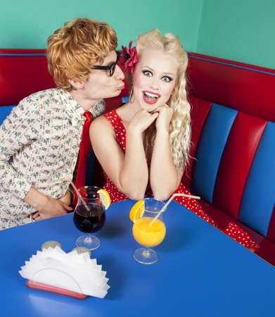 Funny guy kissing a girlfriend, similar available in my portfolio  photo