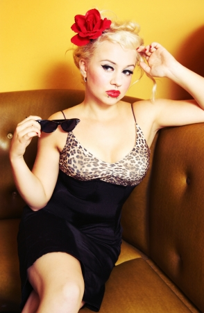 Retro pin up girl photo
