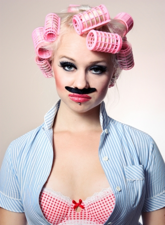 crazy girl: Attractive girl with mustache Stock Photo